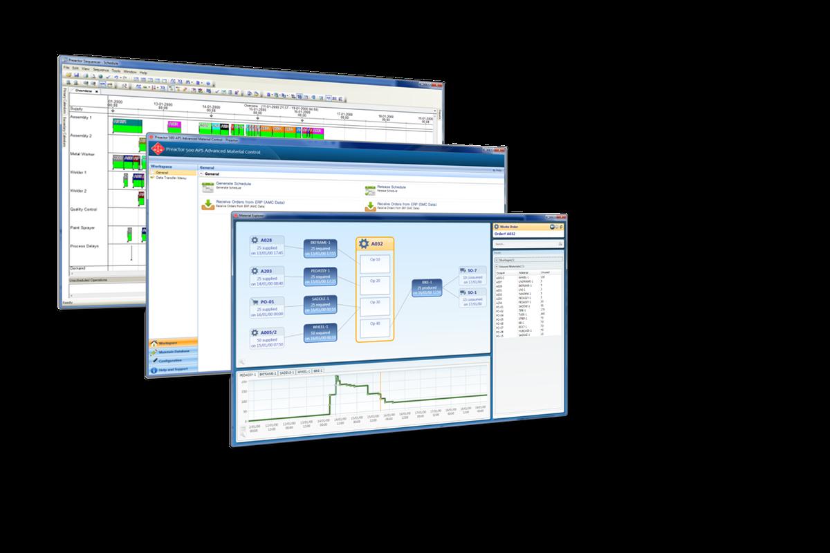 Preactor Workspace, Materials Explorer & Sequencer/Gantt Charts