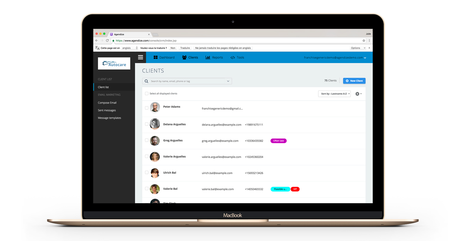 Agendize's client list makes it easy to interpret your day's activities according to who really matters most: the customer.