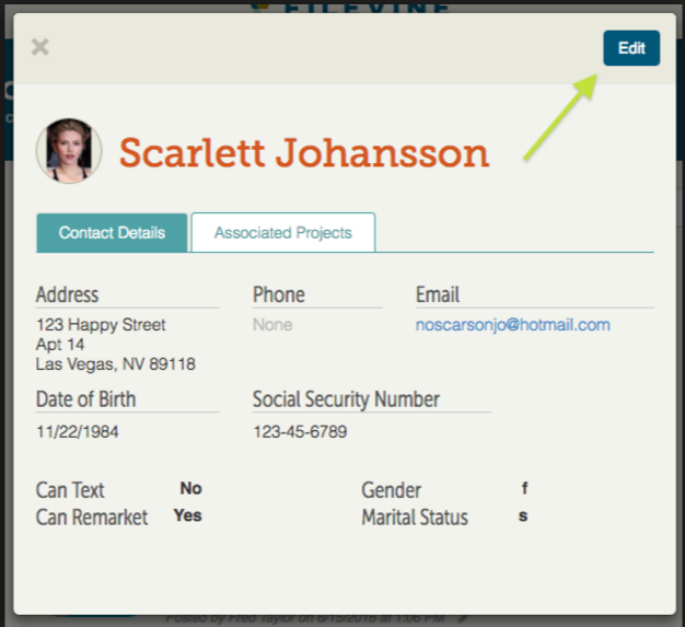 The application lets users record contact details of stakeholders involved in the project