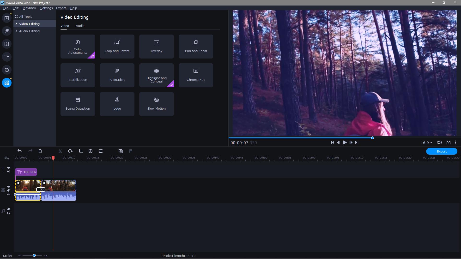Movavi Video Editor Plus video editing portal