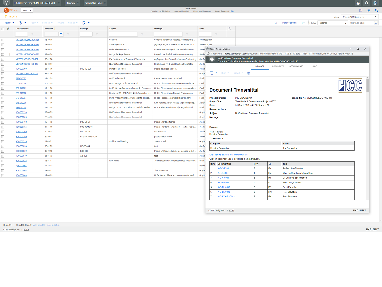InEight Software - Transmittals Feature