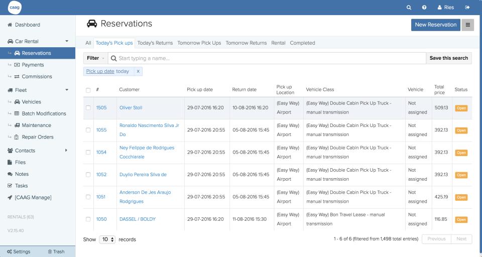 HQ Rental Softwarereservation management