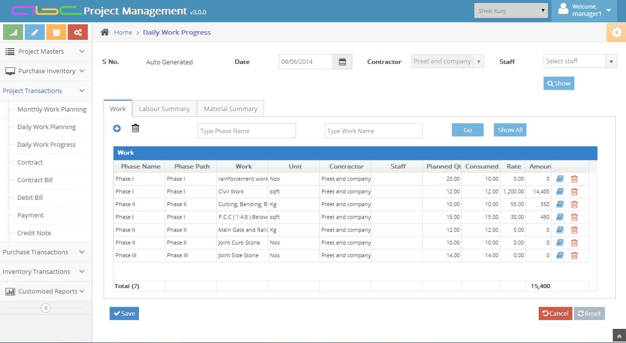 Bhoomi Software - Daily work progress