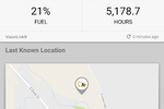 busybusy screenshot: Equipment such as vehicles can be tracked on a GPS map, and fuel levels and usage time can also be reviewed