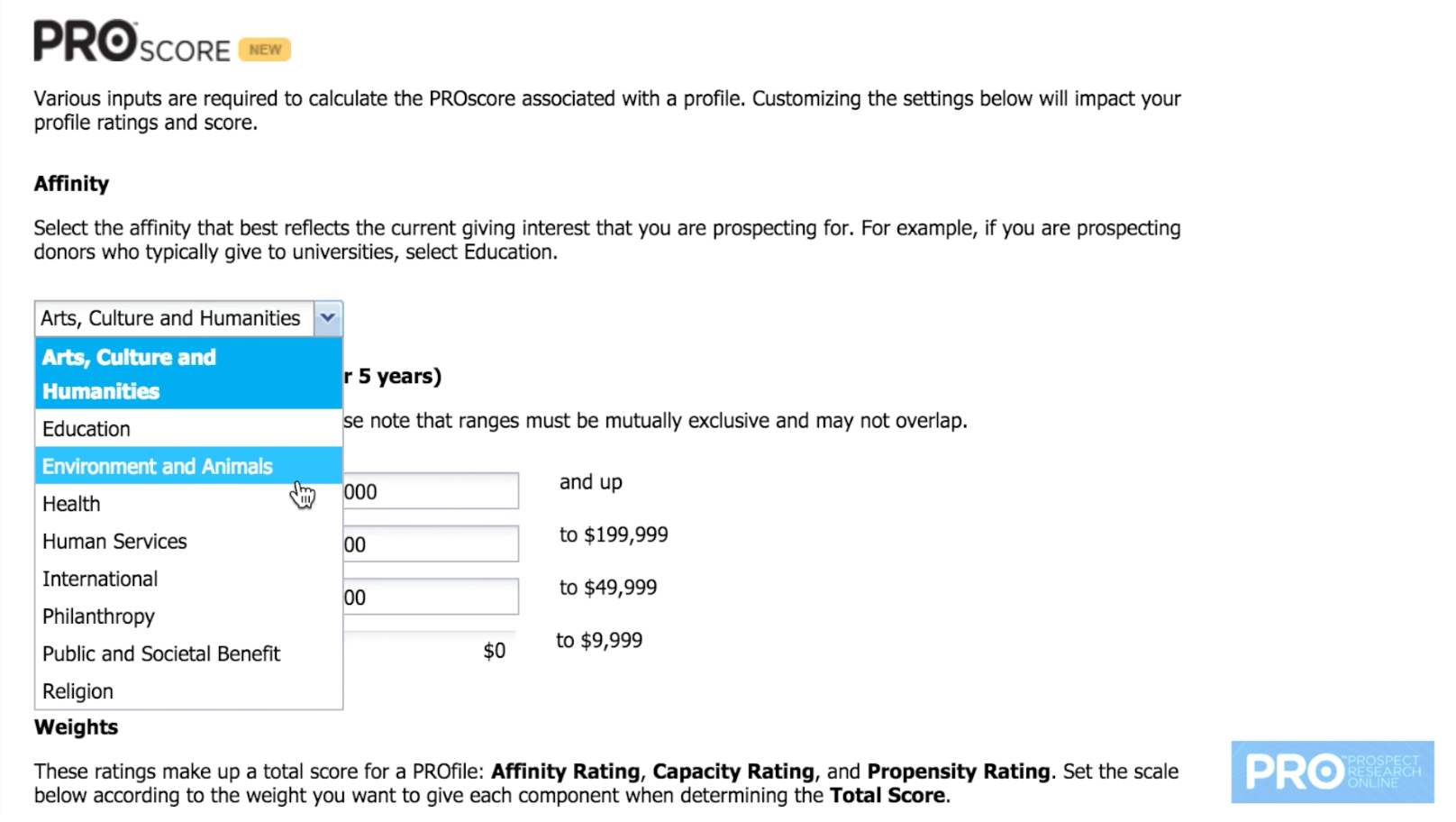 Users can select the organization type to rate each prospect's connection to specific sectors