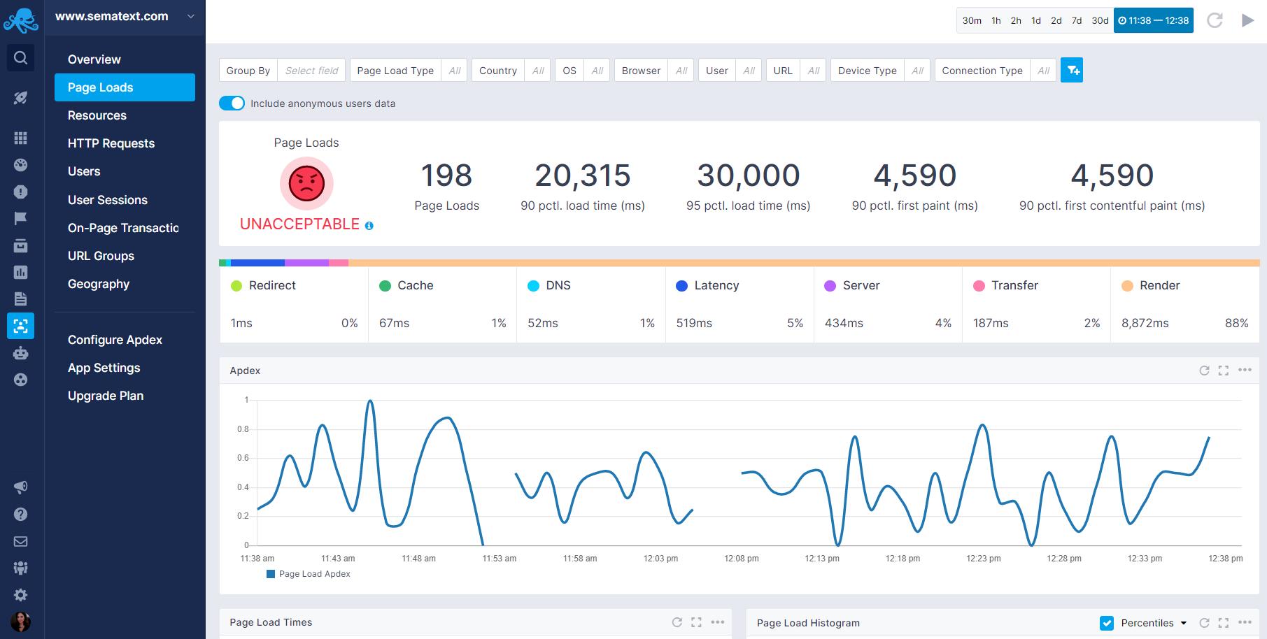 Sematext Cloud real user monitoring