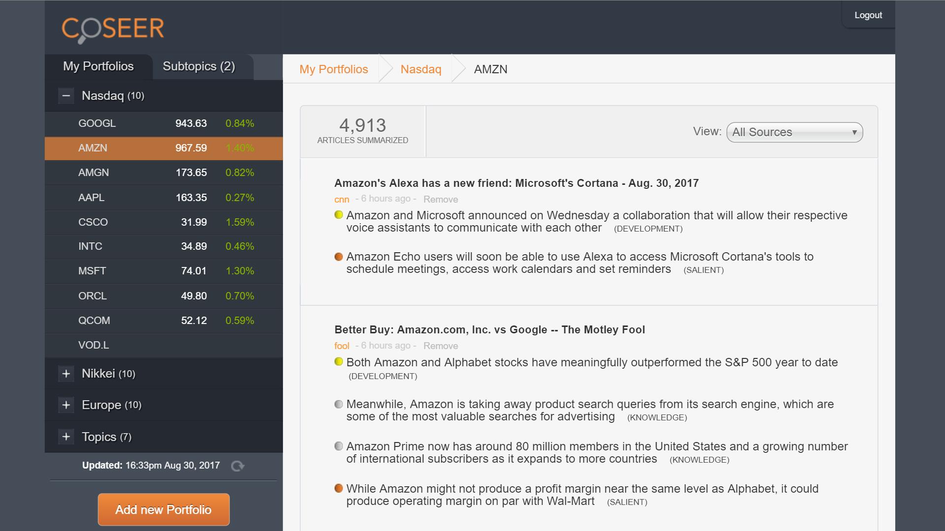 Coseer Software - Portfolios %>
