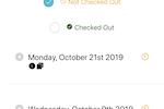 Volunteer Check In Kiosk screenshot: Volunteer Check In Kiosk filter by status