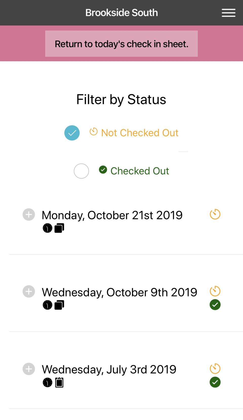 Volunteer Check In Kiosk filter by status