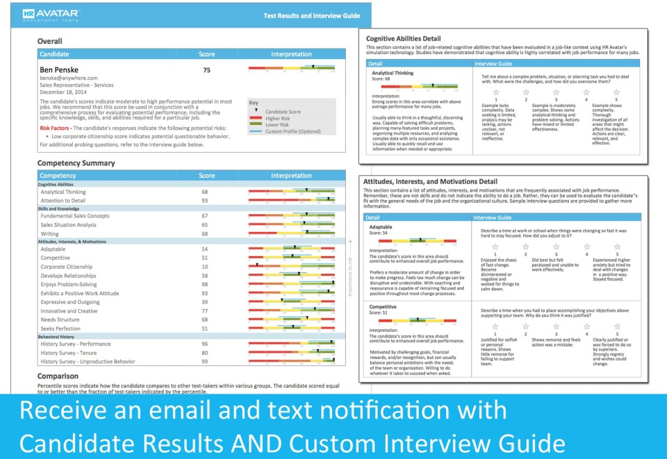 Receive an email and text notification for candidate results with competency details and an interview guide of candidates.