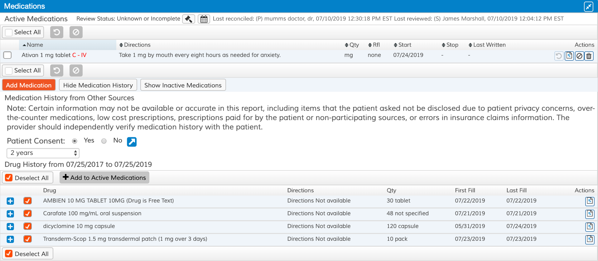 Clearscripts-medication history