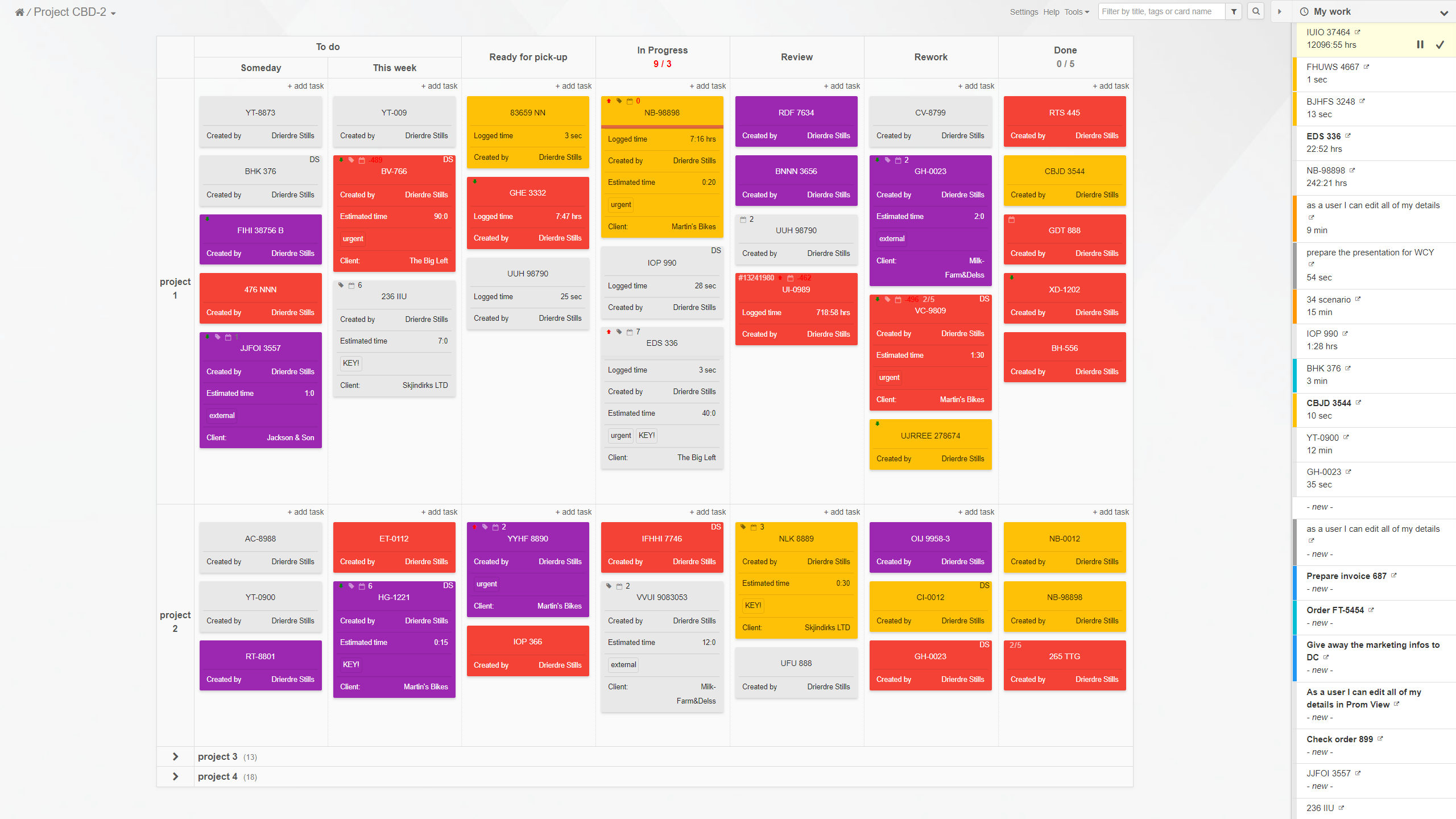 An example of a Kanban Tool board with a user's own background image. My Work widget, allowing to manage own work across all boards is visible on the right side of the board.