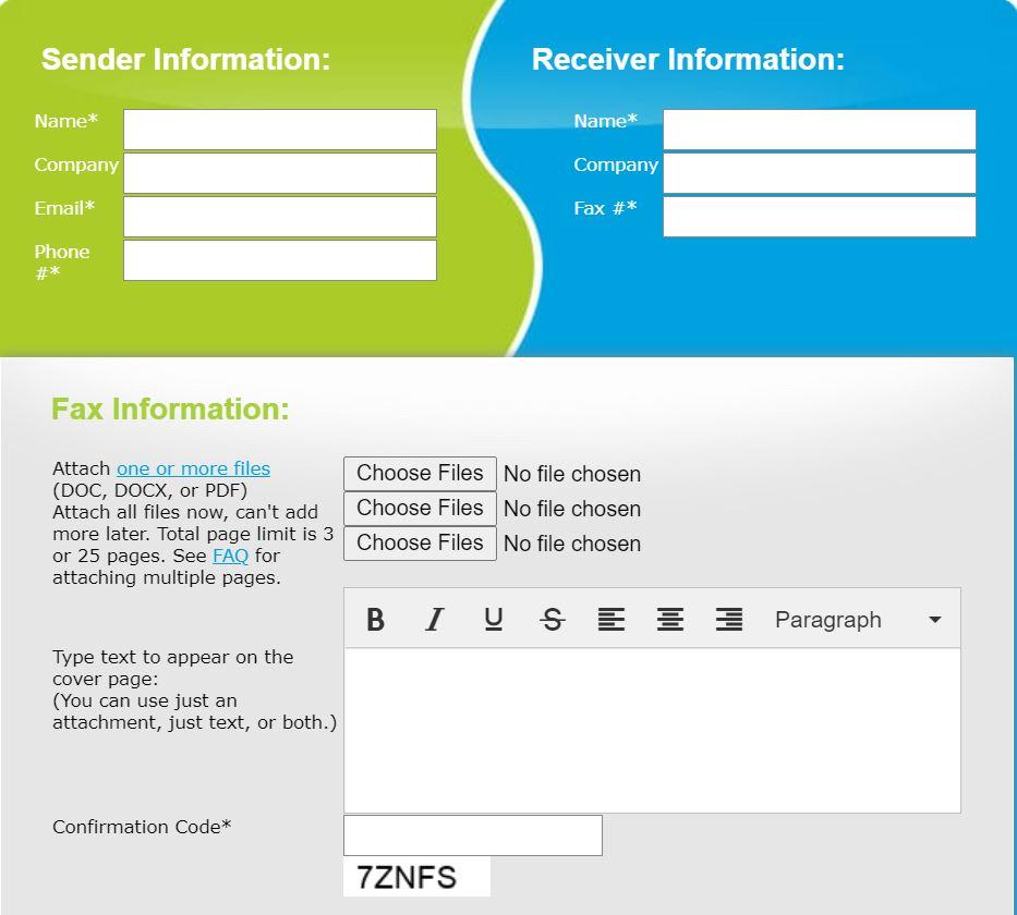 FaxZero sender and receiver information