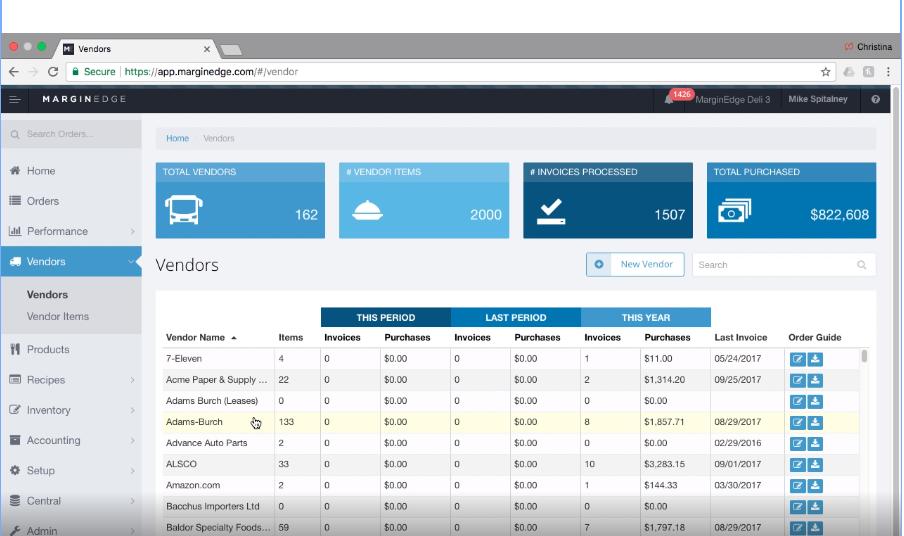 MarginEdge vendor setup screenshot