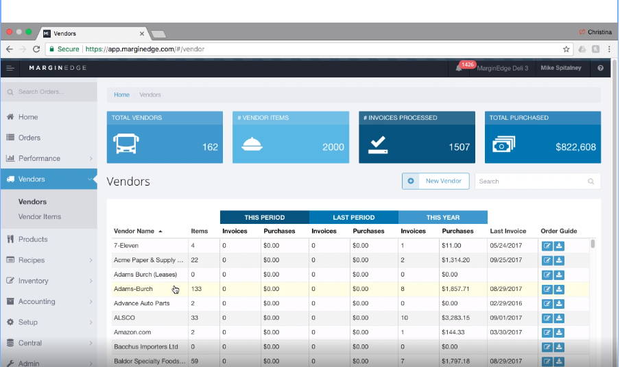 MarginEdge Software - MarginEdge vendor setup screenshot