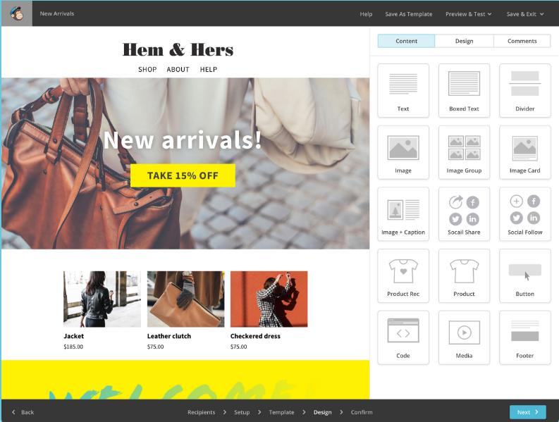 MailChimp create newsletters