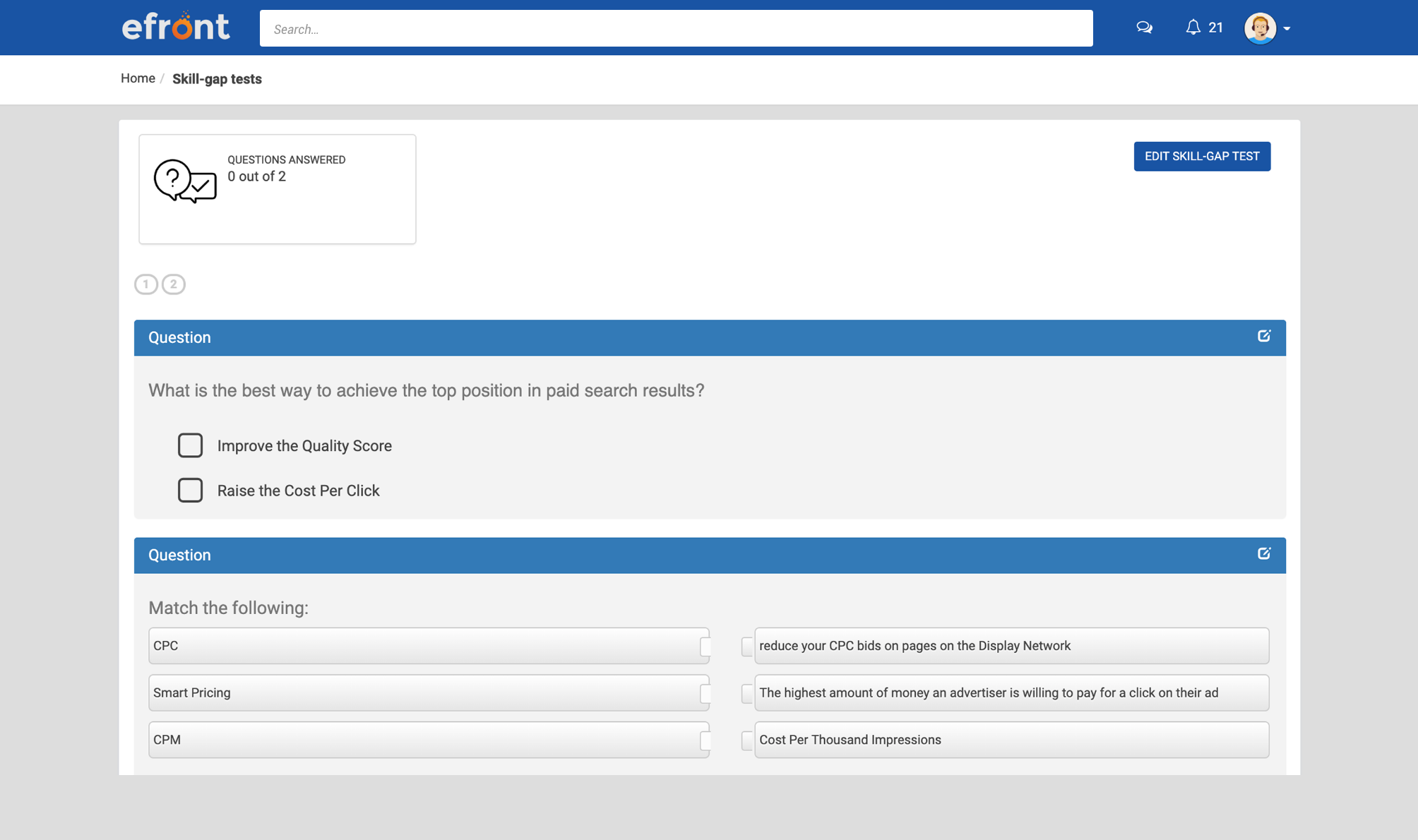 View of an example test on eFront.
