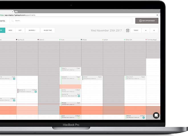 Squire Barber Appointment App Software - Schedules