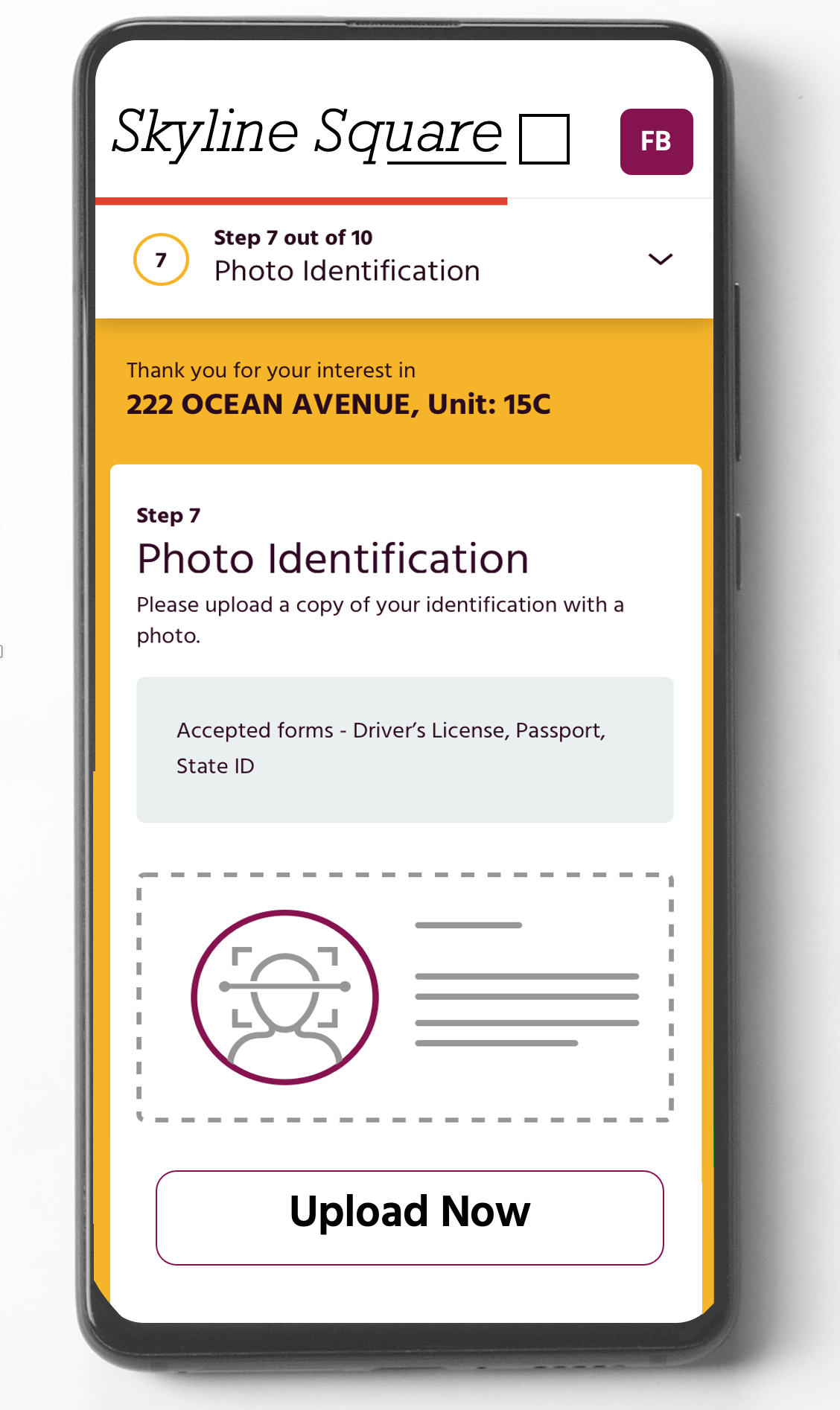 customizable online mobile application form