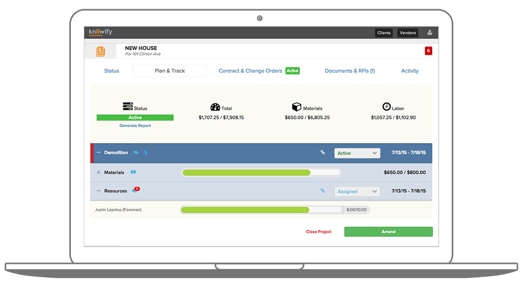 Create cost estimates or bids, and use progress or AIA billing to invoice clients.