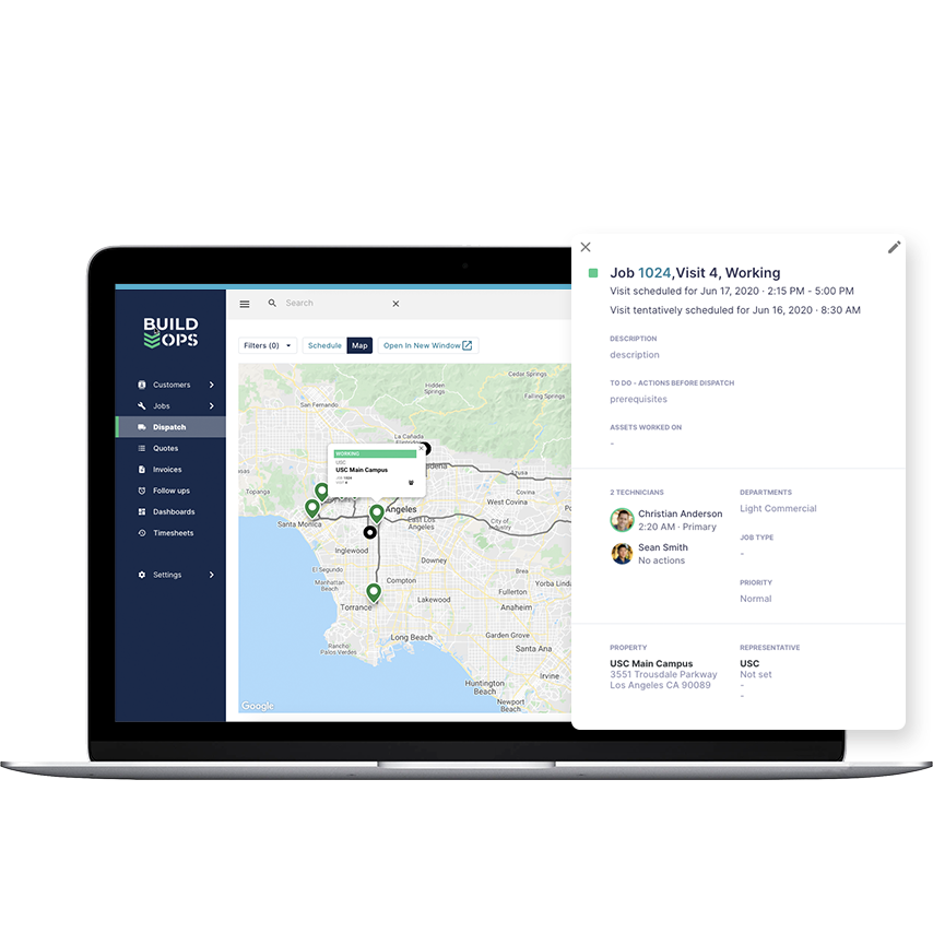BuildOps Dispatching Made Easy: Keep your dispatchers happy by allowing them to create, edit + view jobs without ever having to leave the dispatch map. Know where your techs are, their unique skill sets + when they're available for the next job.