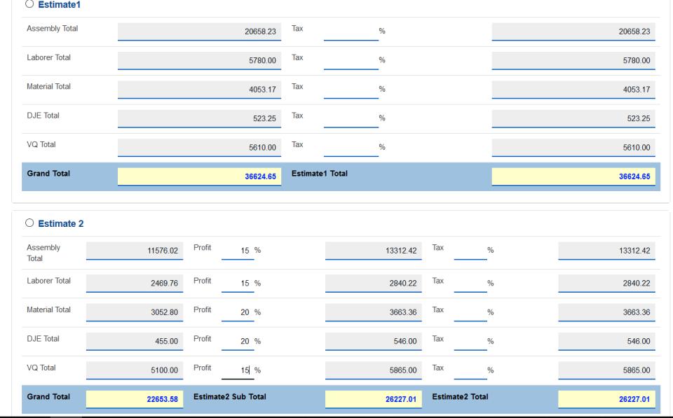 Estimate choice lets teams browse multiple options for generating estimates