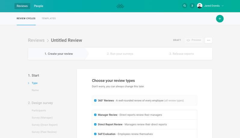 Lattice includes predefined review cycle templates, or users can create their own custom review cycles