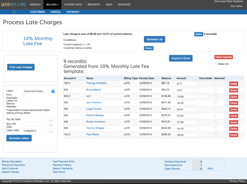 The Process Late Charges page within the Billing section shows customer records flagged up as being late and incurring charges of a certain percentage