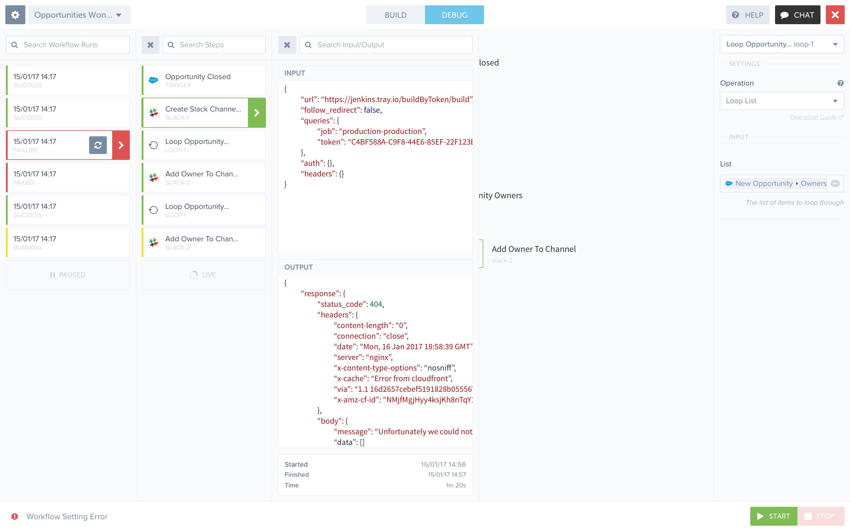 Tray.io Software - Tray.io debugging