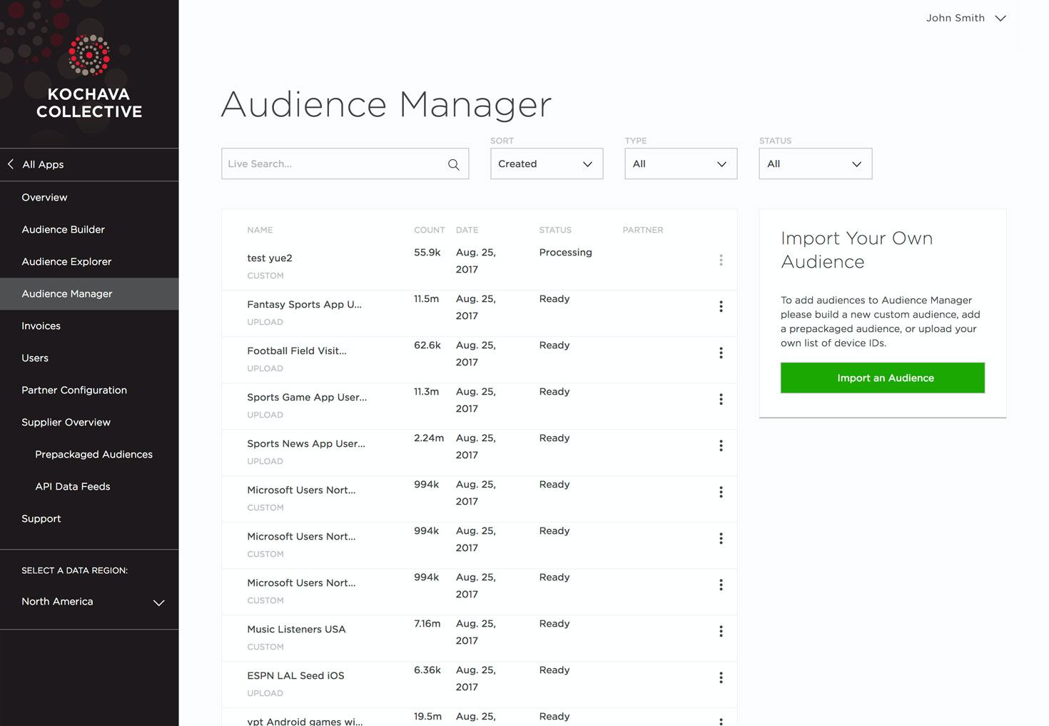 The Audience Manager screen support marketers with a single view onto all created audiences whether custom built, pre-built or imported