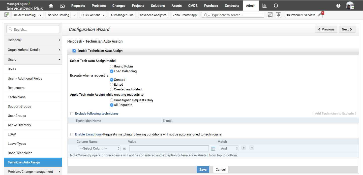 Manage setup with the configuration wizard