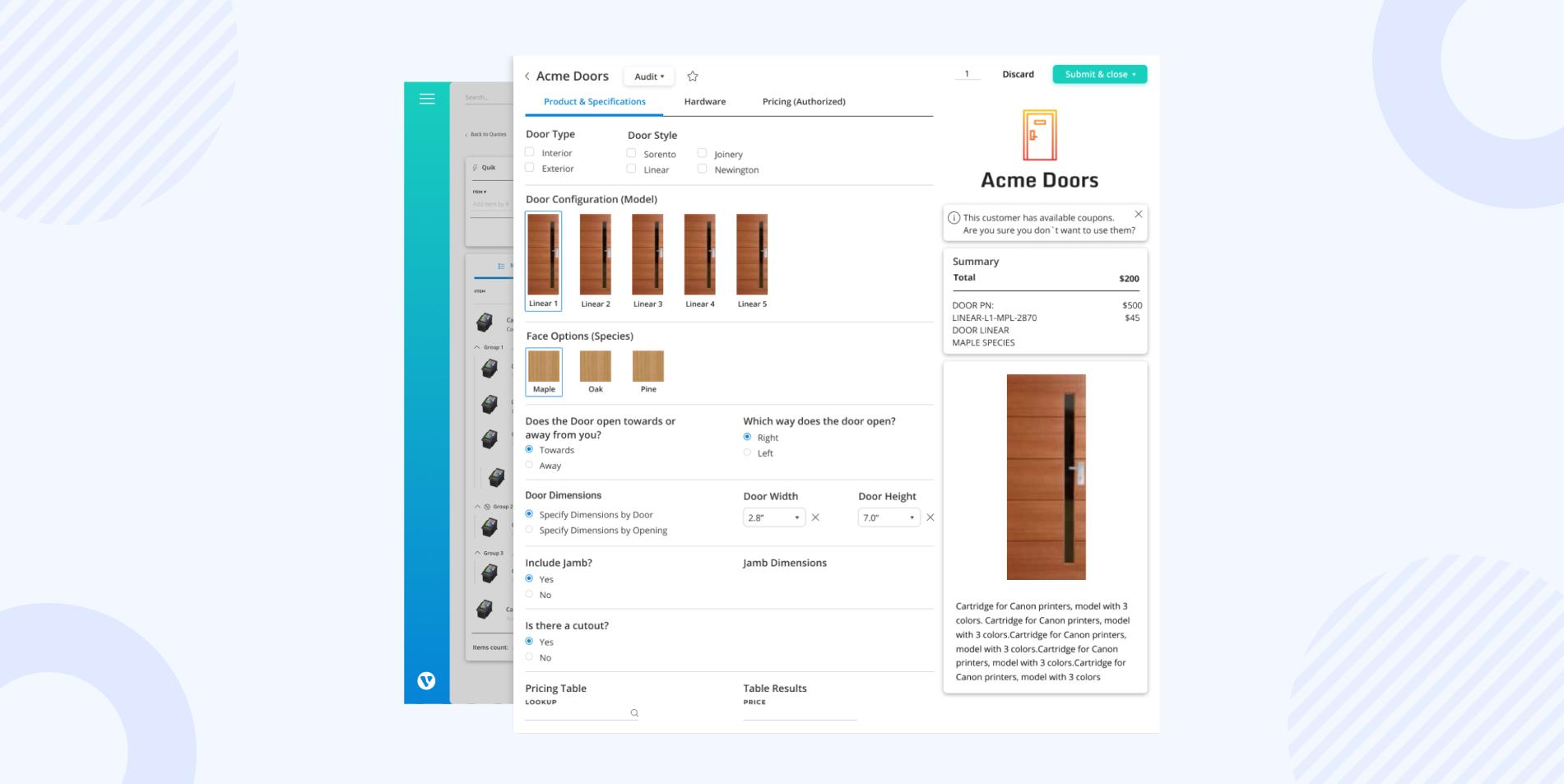 Verenia CPQ screenshot: Door Configurator