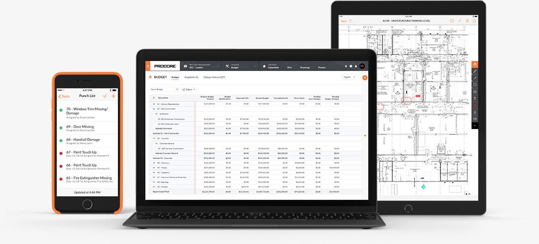 Procore screenshot: Procore for Desktop and Mobile