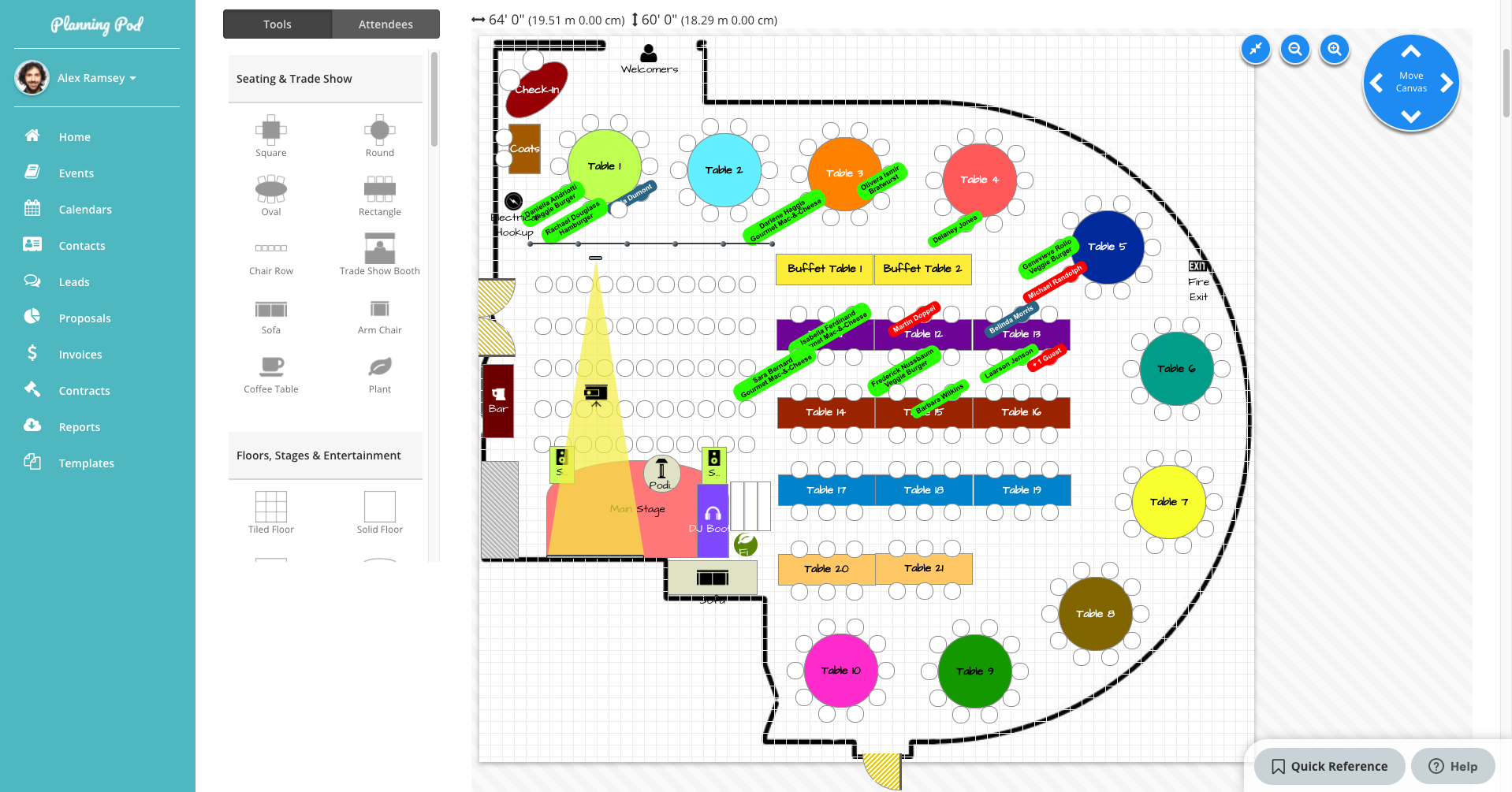 Planning Pod floorplans and seating charts