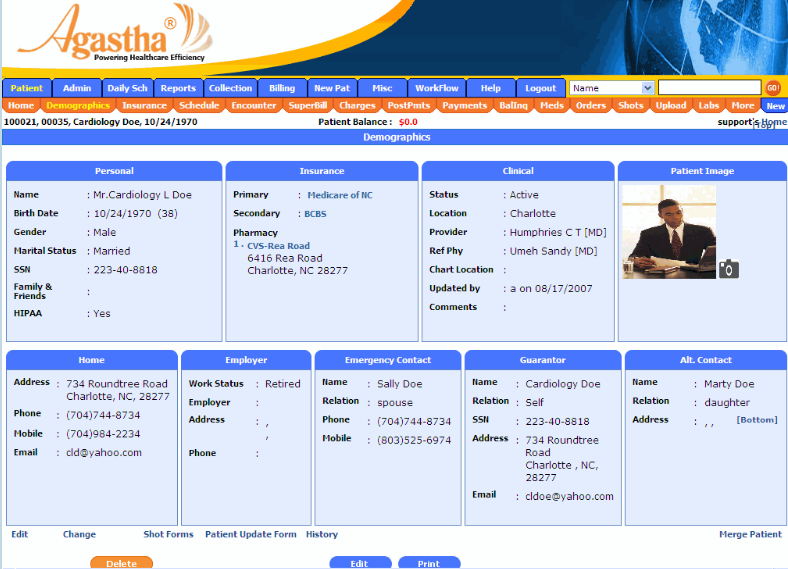 Agastha EHR Software - Patient format