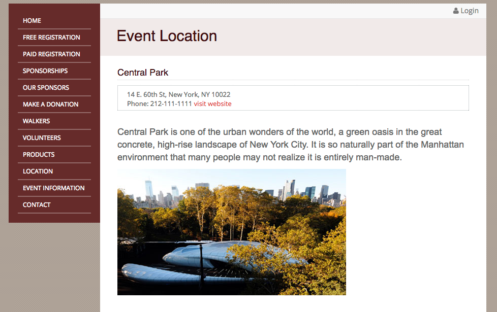 Users can manage event information and contact details