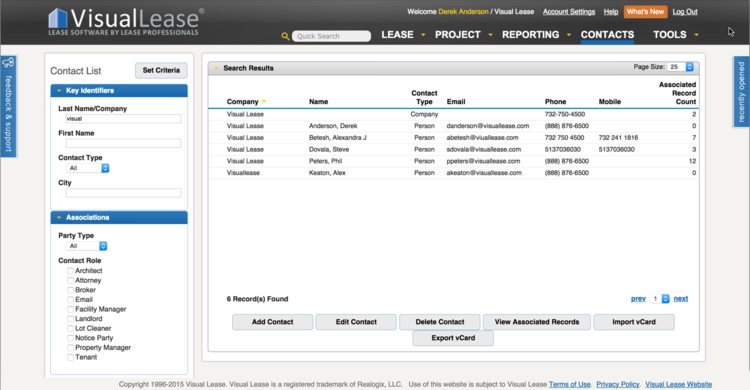 Visual Lease includes a searchable contact database