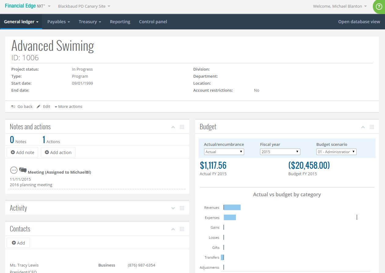 Blackbaud Financial Edge NXT Software - General ledger