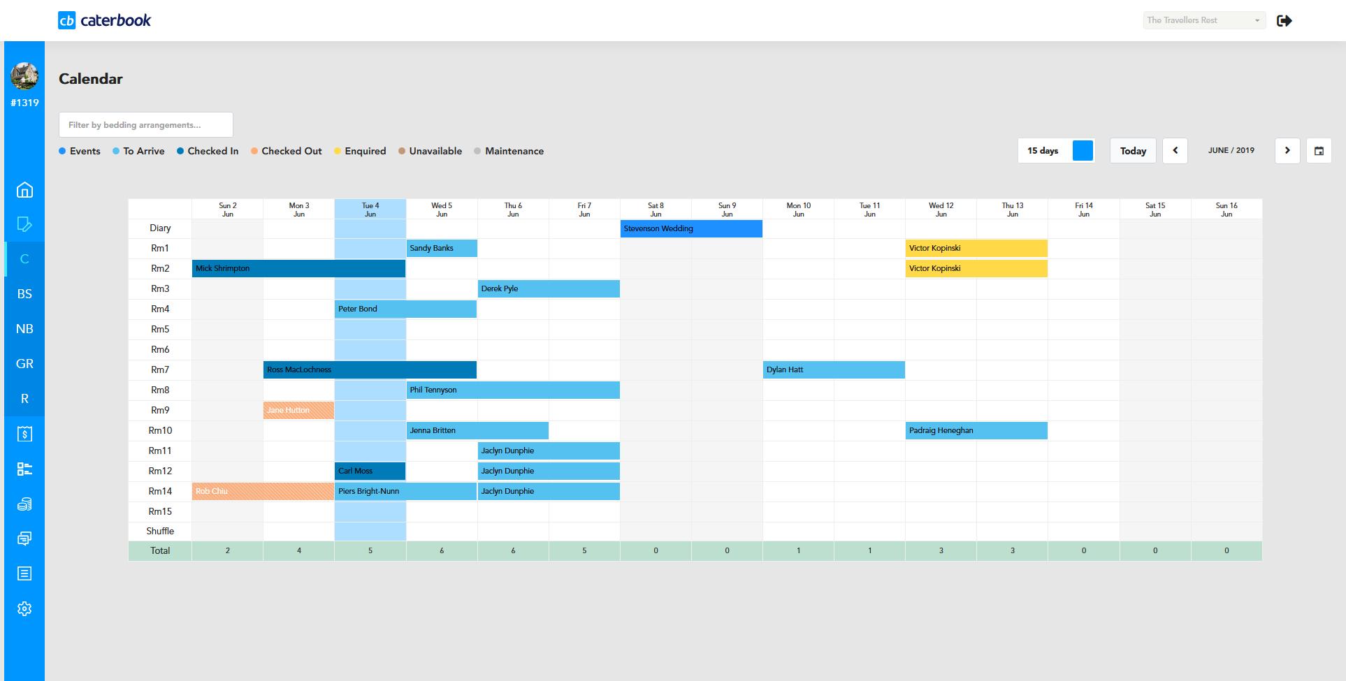 CaterBook calendar management screenshot