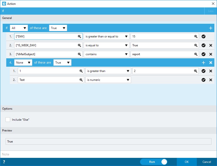 Nintex RPA screenshot: Nintex Foxtrot RPA decision making actions