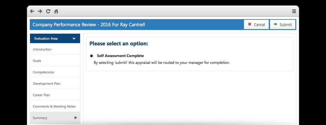 emPerform Software - Appraisal screen
