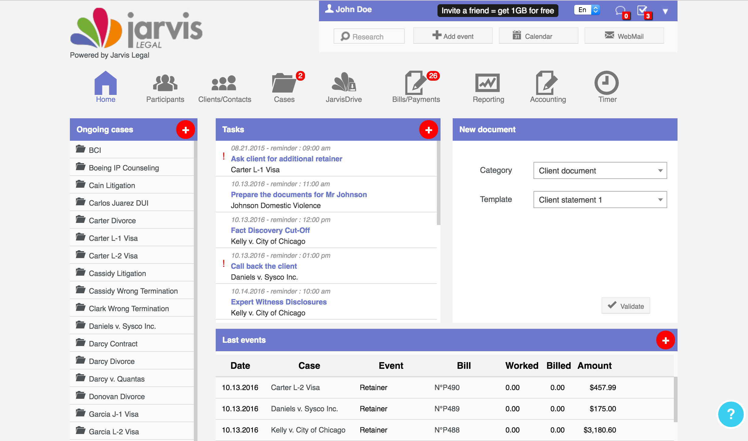 Jarvis Legal Software - Dashboard