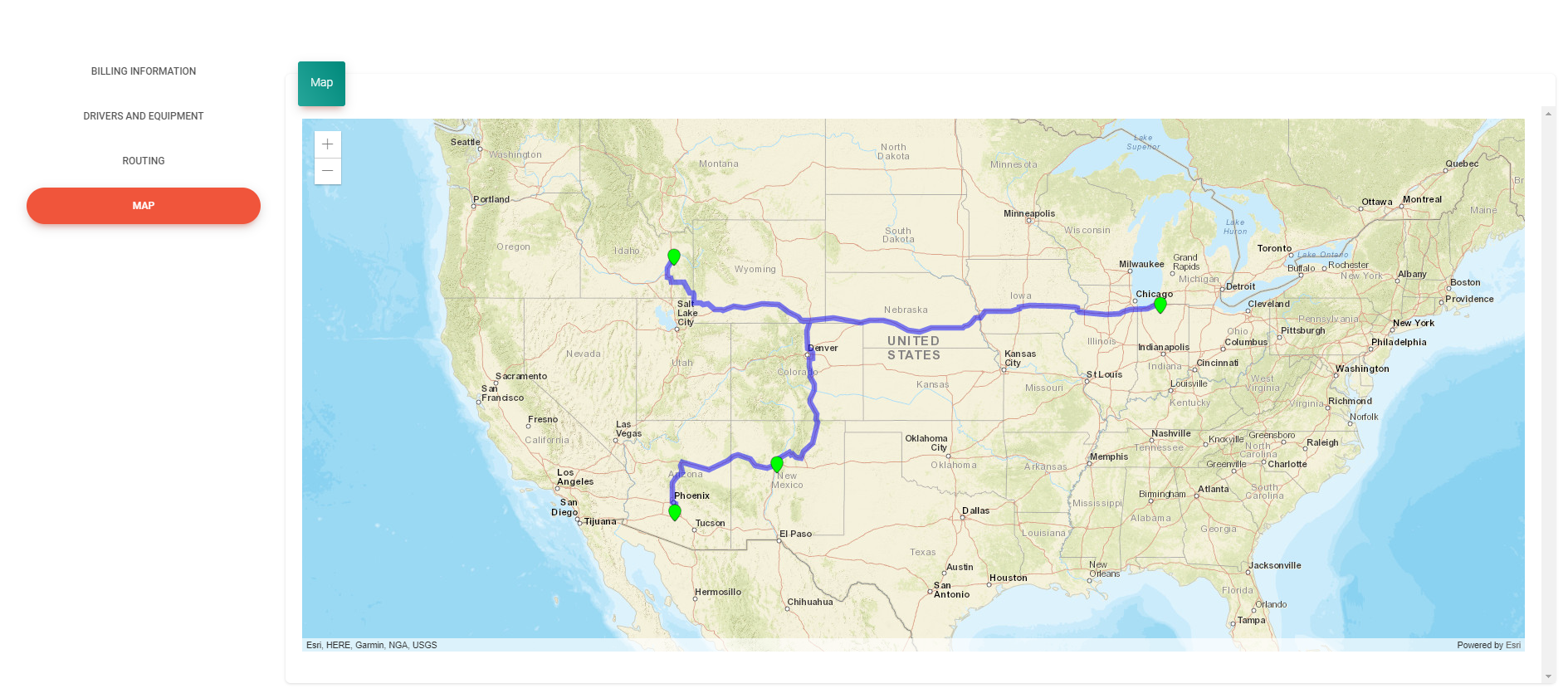 Map shows the routing of all pickup and drop off locations