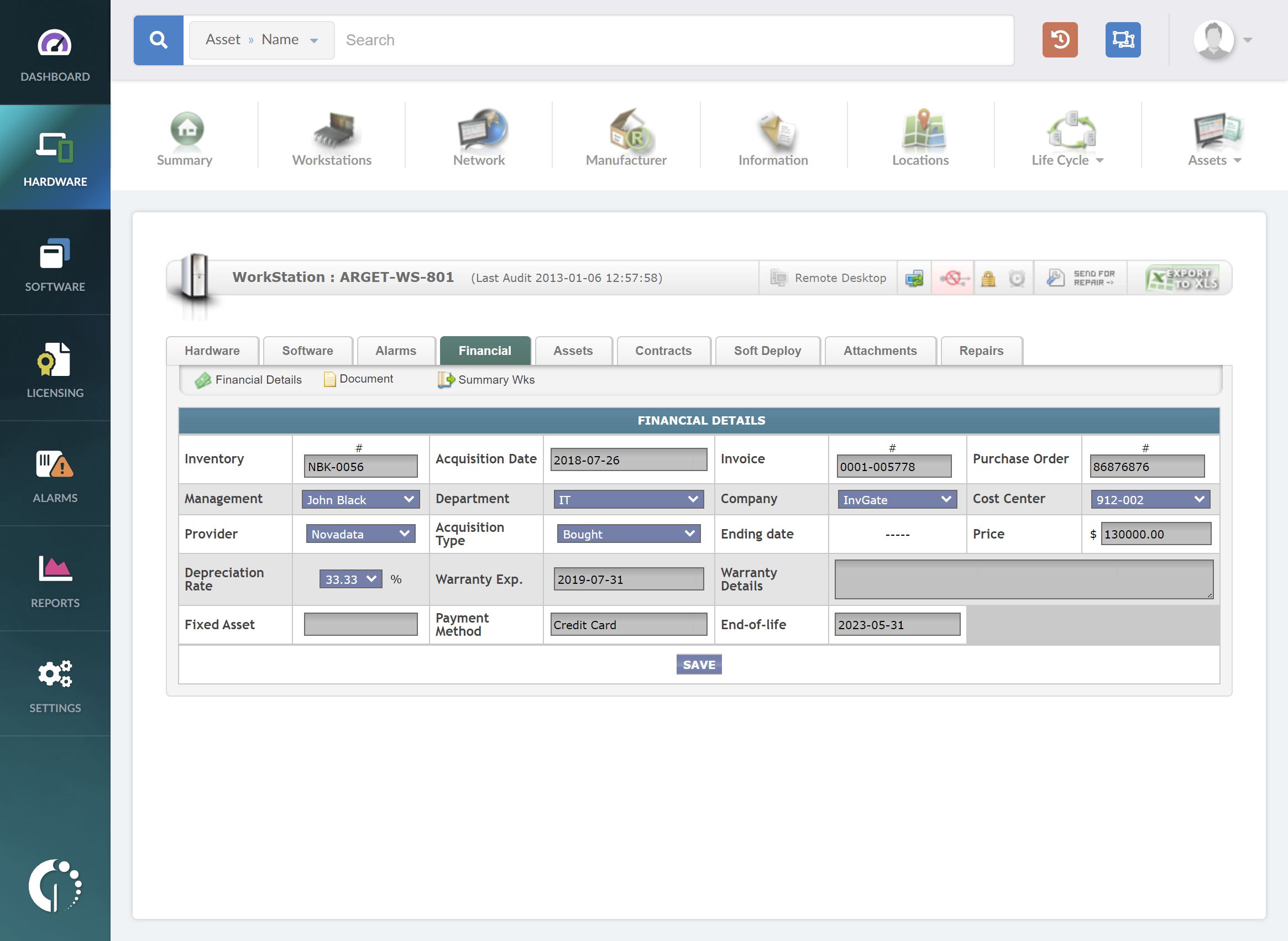 InvGate Assets Software - Cost Management