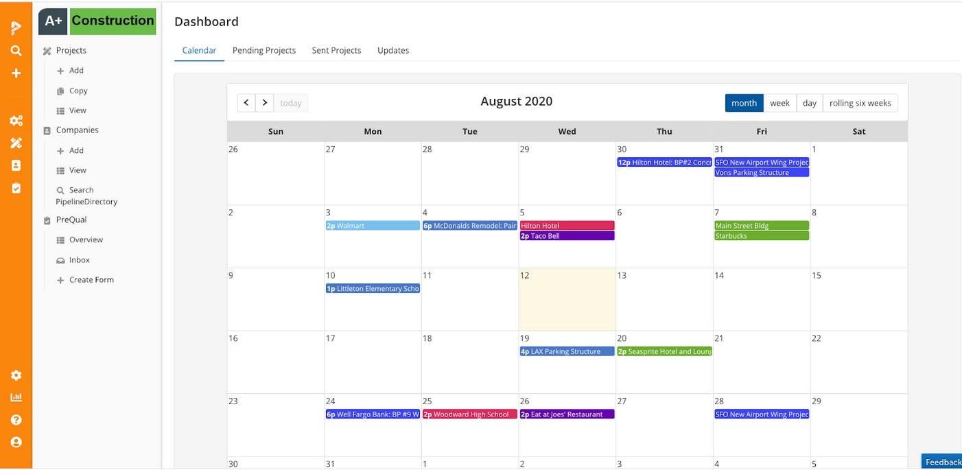 PipelineSuite Bid Management Software - Project Calendar