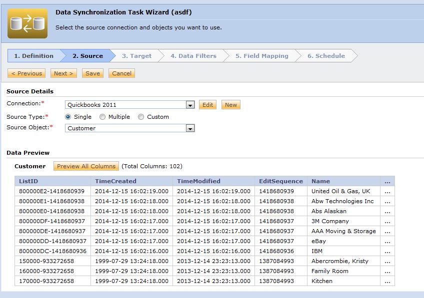 Informatica Intelligent Cloud Services data synchronization wizard