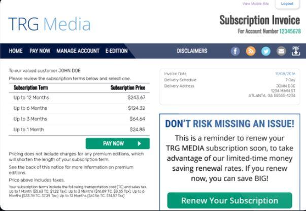 DataOceans subscription invoice