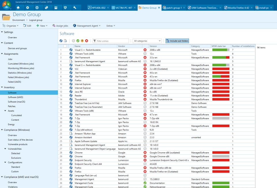 baramundi Management Suite software inventory
