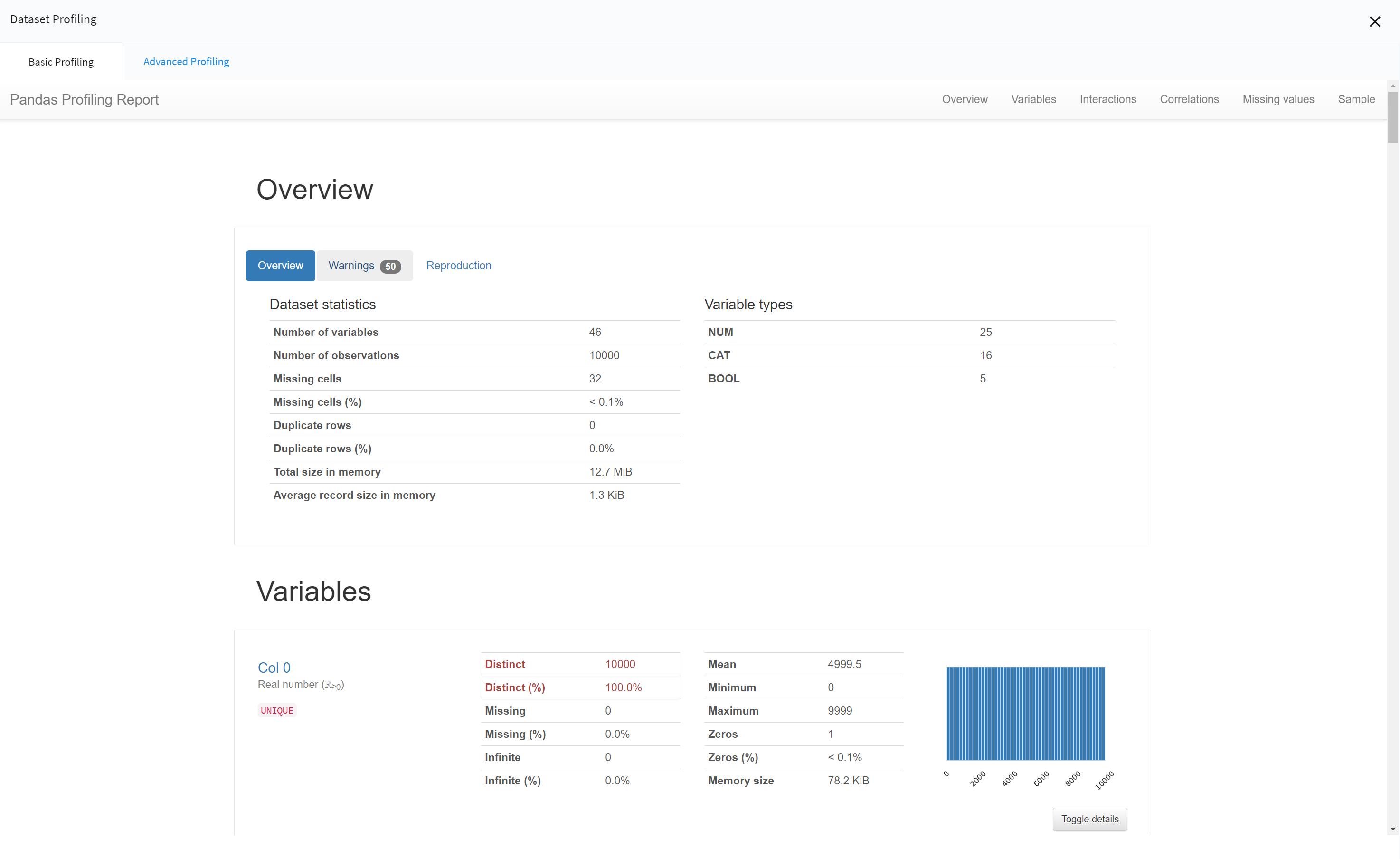 NEMESIS dataset profiling
