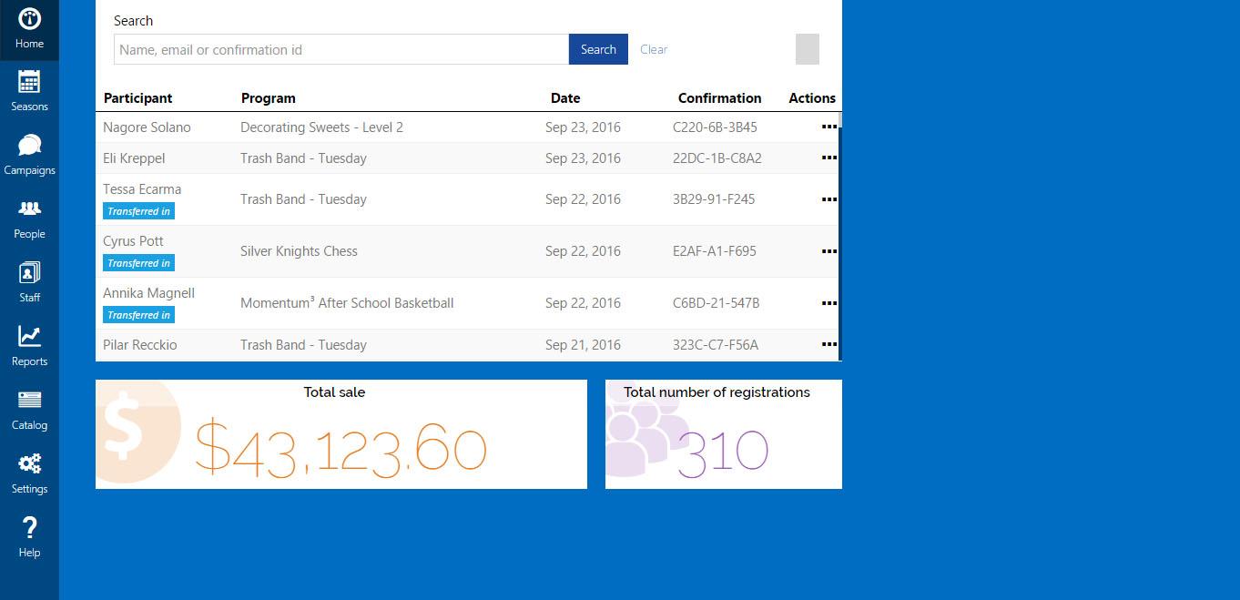 Jumbula participants screenshot